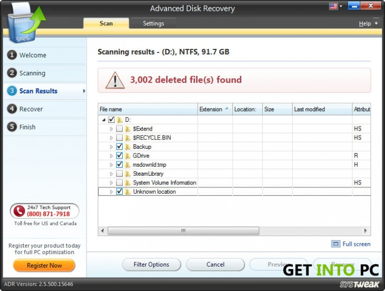 Advanced disk recovery System requirement