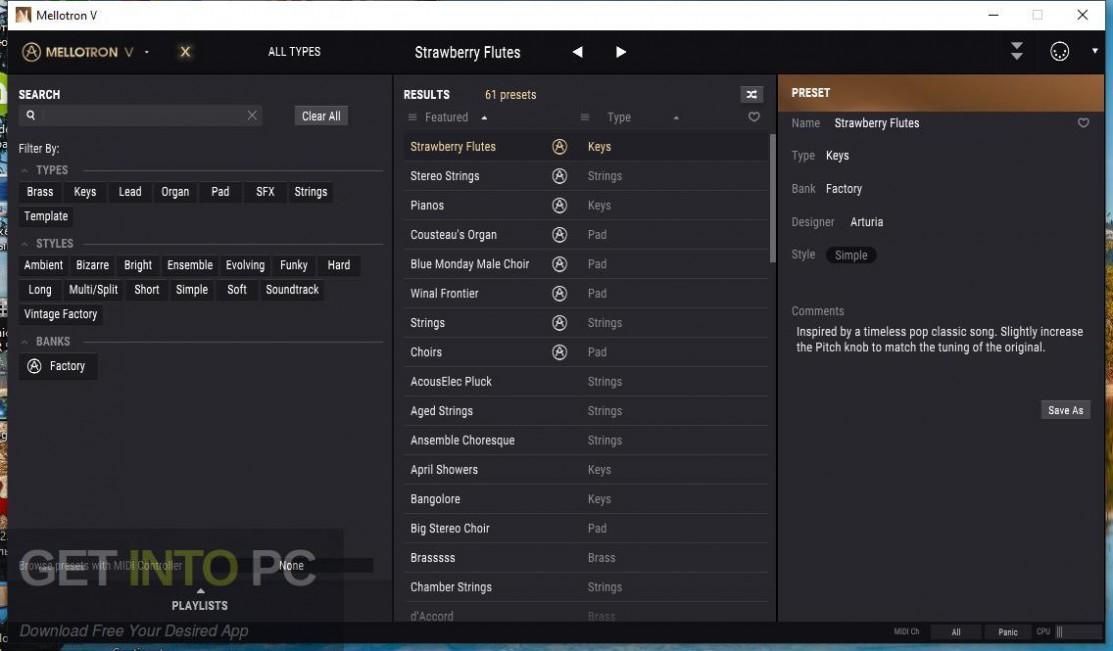 Arturia - Mellotron V Offline Installer Download-GetintoPC.com