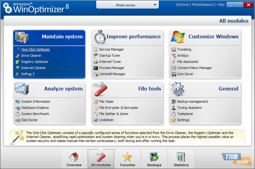 Ashampoo Winoptimizer Interface