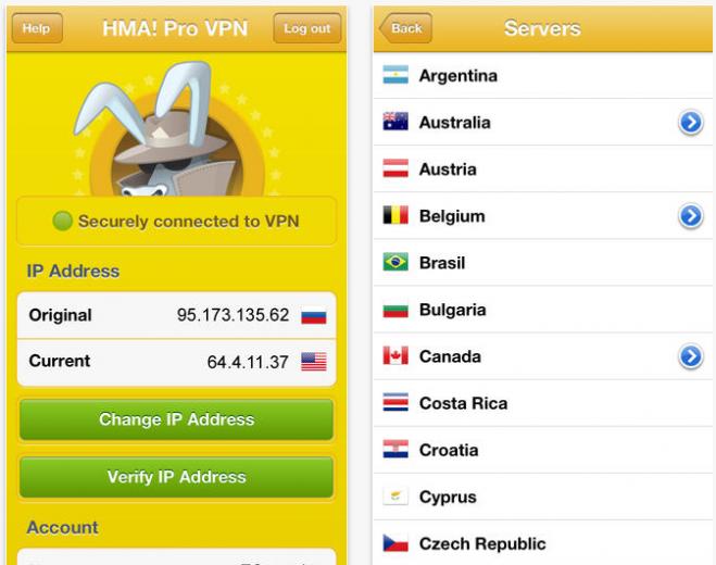 HMA Pro VPN change IP