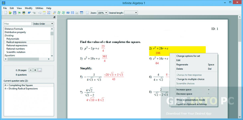 Infinite Algebra 1 Direct Link Download