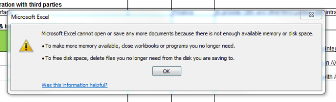 Excel corrupted error