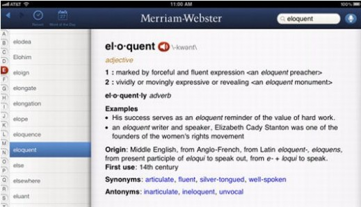 Merriam Webster Dictionary interface