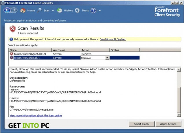 Microsoft Forefront client security Technical details