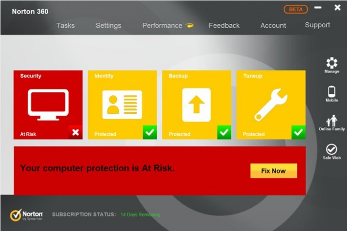 Norton Antivirus Interface