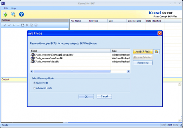 Performing BKF File Recovery