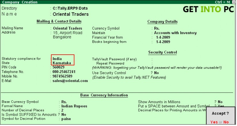 tally erp 9 features