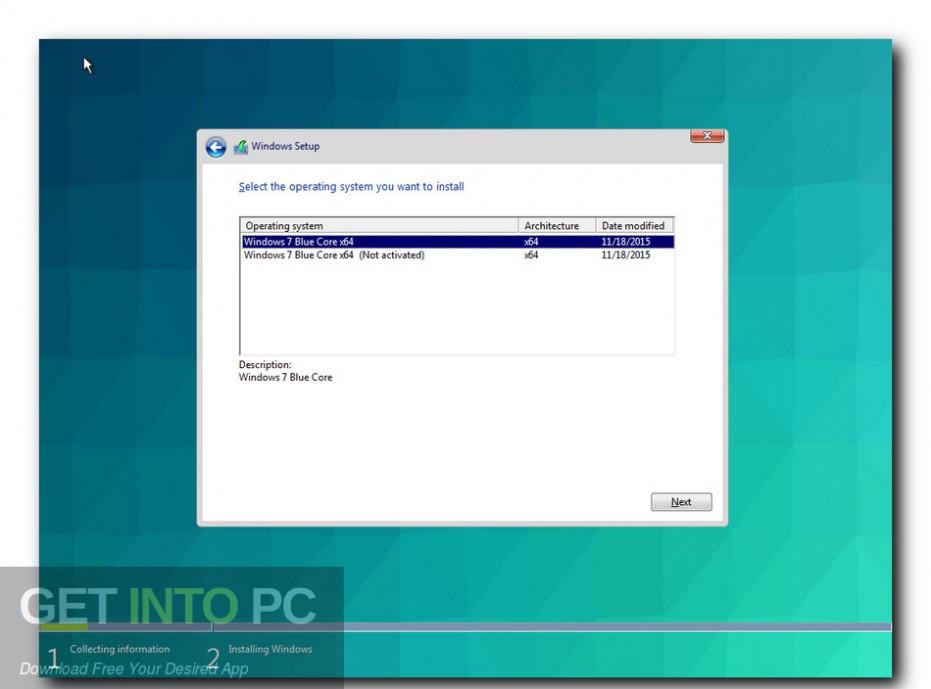 Windows 7 Blue Core Direct Link Download-GetintoPC.com