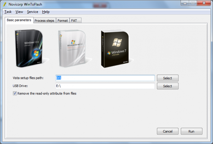 WinToFlash software interface
